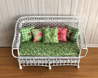 Miniature Bench (Bar Harbor) With Seat Cushion And 5 Matching Throw Pillows - In Pretty Greens And Pinks