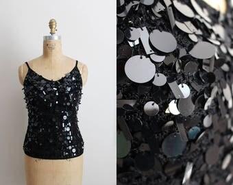 90s Disco Glam Black Tank / Party Blouse / Black Beaded Tank / Holiday Top /Black Crochet /  Size S/M