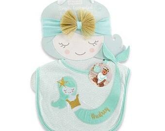 Personalized Mermaid Bib and Headband Set -gfyE000343