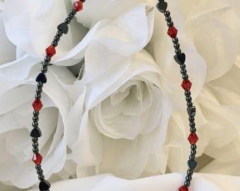 Hematite Heart Red Crystal Bracelet/Ankle Bracelet (2202) + Plus Sizes