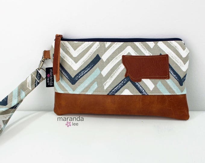 Flat Clutch - Dancer Blue with Montana Patch READY to SHIp