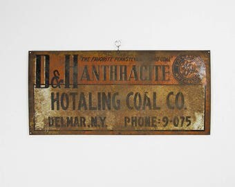 D&H Anthracite Coal Sign 1940s Tin Railroad Coal Supply Orange Wall Hanger