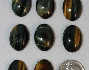 Inventory Reduction Sale Blue-Gold Tigereye- 13 x 18 mm - Package of 8 stones