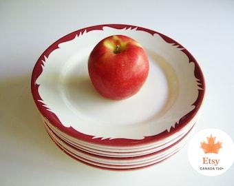Vintage, Dinner Plates, Restaurantware, Erica, JE Heath, Deco 105, Canadian, Red, Hotel Ware, Restaurant Ware, Vintage Diner, EtsyCA150+