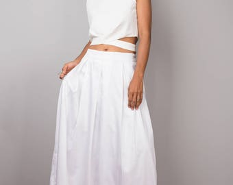 Maxi Skirt, white skirt, long white skirt, floor length skirt, pleated skirt, white maxi skirt, women's skirt : Feel Good Collection No.3