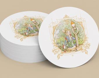 PETER RABBIT STICKER, Seal, Gift Tag, Gift Card, Label, Round, Circle, Peter Rabbit Cupcake Topper Printable Digital File 1003