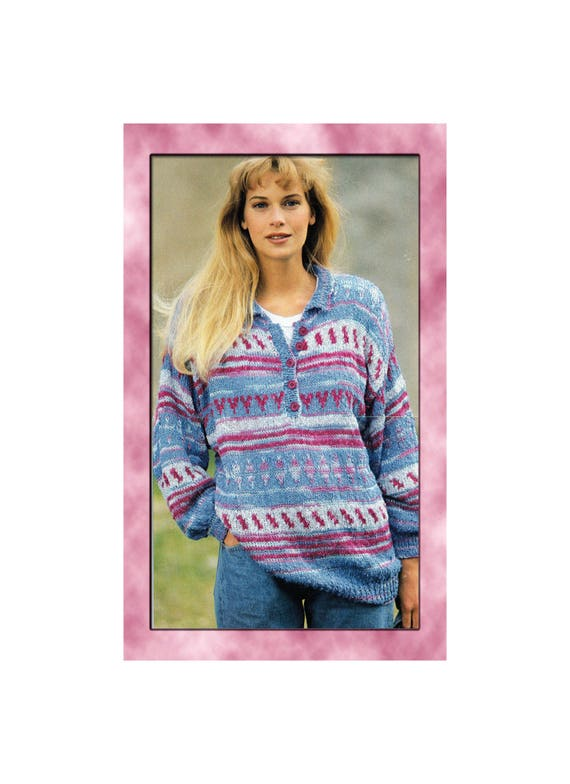 Instant Download Pdf Knitting Pattern To Make A Womens Shirt Style Sweater Baggy Oversize Sloppy
