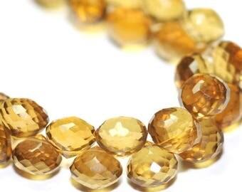 SUMMER SALE Quartz Faceted Onion Briolettes 4 Dark Golden Semi Precious Gemstones