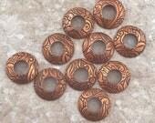 BHB Caps, Textured Copper Petals and Leaves Bead Caps, 1 pair (2 caps), 13mm