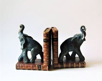 Elephant Bookends  British Colonial