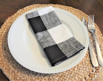 Large Black White Plaid Country Style Table Napkins 17x17 Black & White Buffalo Check Plaid Napkins