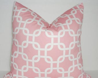 SPRING FORWARD SALE Decorative Pillow Cover Pink/White Geometric Gotcha Baby Nursery Girls Room Choose Size