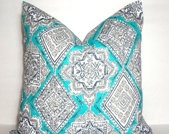 SPRING FORWARD SALE Outdoor Aqua Blue Turquoise Grey White Milan Oriental Pattern Porch Pillow Cover Patio Decor Size 18x18