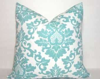 SPRING FORWARD SALE Decorative Pillow Canal Blue and White Damask Floral Pillow Covers Cecilia Premier Prints All Sizes