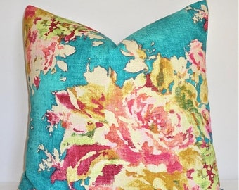 SPRING FORWARD SALE As Seen on The Bachelor Turquoise Teal Blue Pink Peach Green Citrine Floral Pillow Cover Decorative Home Decor Size 20x2