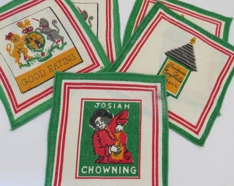 Vintage Pub Tavern Signs Cocktail Napkins Set of 5 Colonial Williamsburg Taverns Pubs Cocktails Barware Entertaining Man Cave Gift