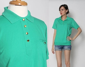 HUGE SALE Vintage 70s 80s Green Polo Gold Shirt Basics