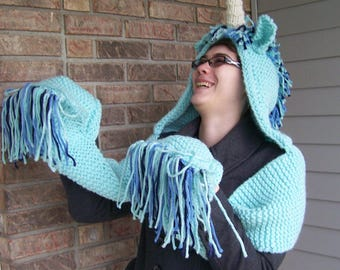 Magical Unicorn Hooded Scarf with Hand Pockets