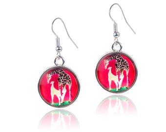 Giraffe Earrings - From My painting, Full Circle by Salvador Kitti