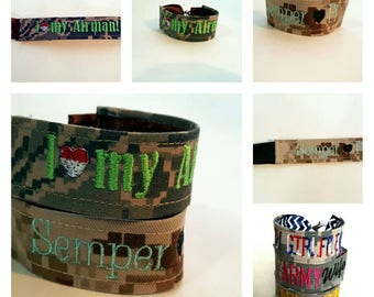 USAF Girlfriend or Wife Nametape Bracelet Custom Made for You