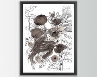 Black and White Abstract Print. Ink Print. Flower illustration print. Pen and ink drawing abstract floral art. Ink painting. Ink art