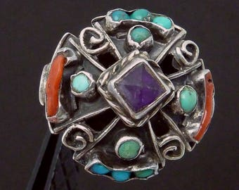 Vintage Taxco Mexican Sterling Silver Coral Turquoise Amethyst Matl Style Ring 23027