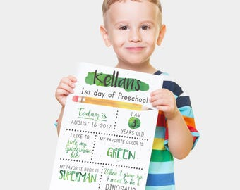 First Day Of School Sign - Back To School Sign - First Day Of Kindergarten - First Day Of Preschool - First Day of 1st Grade - Photo Prop