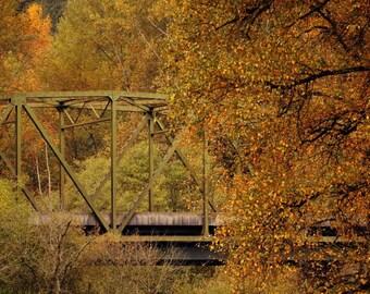 Autumn Bridge Photograph, Seattle Photo, wall decor, home decor, autumn decor, country decor, Seattle Picture