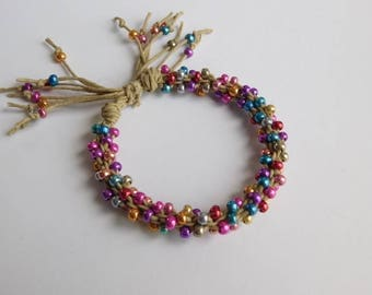 Beaded Kumihimo Hemp Bracelet, adjustable length