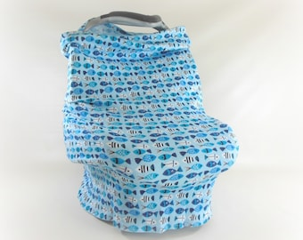 Car Seat Canopy, Nursing Cover, Cart Cover, Car Seat Cover in Blue Fish