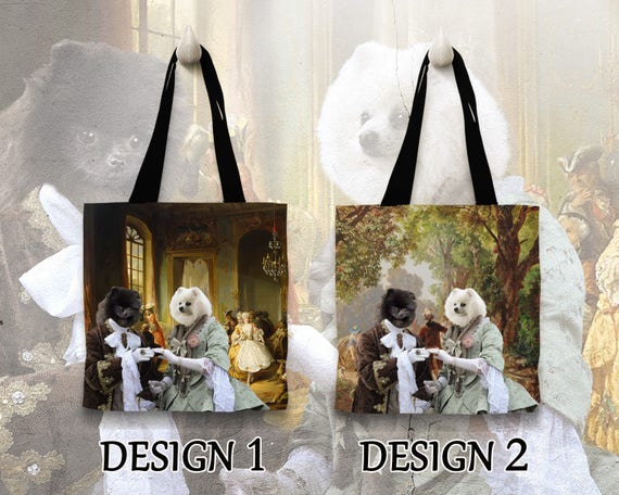 Pomeranian Tote Bag. Pomeranian Bag. Pomeranian Portrait. Personalized Dog Tote Bag. Custom Dog Portrait by Nobility Dogs