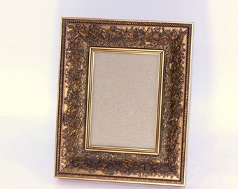 """Ornate Picture Frame 5"""" x 7""""   Recessed Gold Picture Frame with Raised Designs on Sides   Gold Photo Frame with Glass Tabletop Display"""