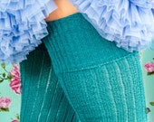 Dark TEAL GREEN Ribbed Thigh high Socks - Better than leg warmers - Extra long Tall Socks - Winter Wool Slouch Socks - Over the Knee Socks