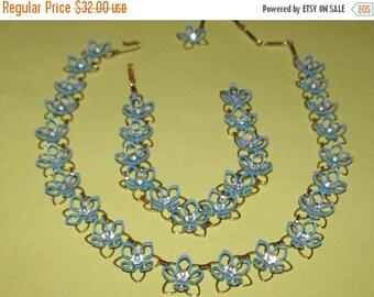 Vintage Flower Metal Blue Enamel  Necklace and Bracelet with Rhinestones