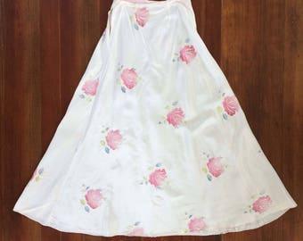 Dreamy 1930s Vintage Embroidered Rose Bias Cut Maxi Skirt White Taffeta Silk Screen Pink & White