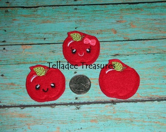 Apple Feltie - Kawaii For Back to School or Fall Felt Crafts -  Great for Hair Bows, Reels, Clips, Planner and Craft Projects - Your Choice