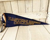 Reserved for Matthew- Vintage felt pennant flag Eastern Oregon College blue gold 1960s- free shipping US