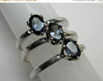 Color-change Blue Garnet Ring in Silver, 6 x 4 mm