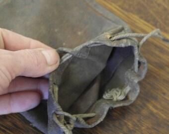 vintage leater purse bag tobacco poutch