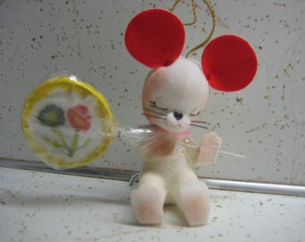 Vintage flocked mouse Christmas Ornament