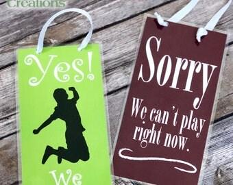 Door hanger - Kid's playing door hanger - Kid door hanger - Funny door hanger - Door sign - Children can play sign - Kids can't play sign