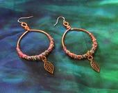 Tribal Hoop Earrings Forest Gypsy Hoops Jewellery Recycled Fabric Ear Rings Wire Wrap Festival Jewelry Wooodland Bohemian Boho Leaf Leaves