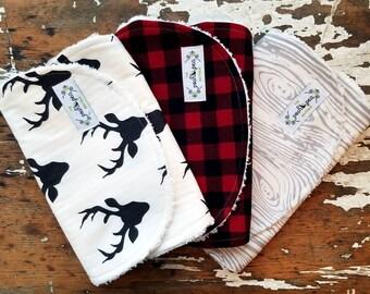 Burp Cloths Boy - Set of 3 - Black Stag,  Buffalo Check Plaid,  Grey Woodgrain - Lumberjack