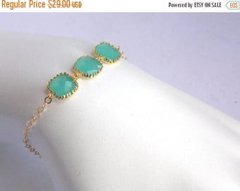 SALE Mint Bracelet, Glass Bracelet, Aqua Gold Bracelet, Turquoise 14K Gold Filled, Wedding Jewelry, Bridesmaids Bracelet, Bridesmaid Gifts