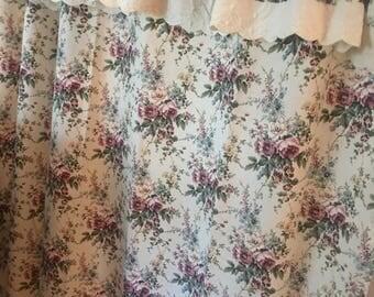 shabby shower curtain pretty rose floral print