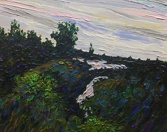 "Original Acrylic Impressionist style Impasto ""Meandering at Dusk"" 10x10"