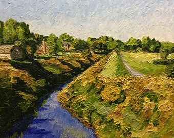 "Original Impressionist style Impasto oil painting ""Red Run"" 18x22"