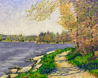 """Original Impressionist Oil Painting """"Impressions at the Lake, Early May"""""""