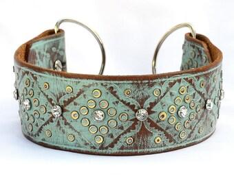 "Martingale Dog Collar, Leather Martingale Dog Collar, Turquoise Leather Martingale Collar, Chain Collar, Collar 15-16"""