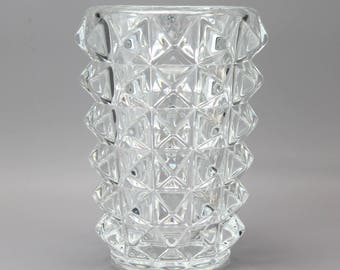Large and very heavy vintage clear glass pineapple vase